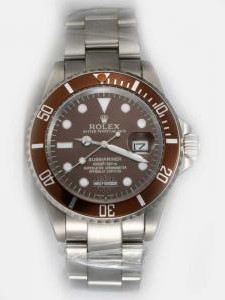 Rolex SUBMARINER Full 18K White Gold Dark Red Da