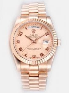 Rolex Day Date Salmon Dial With Roman And CZ Dia
