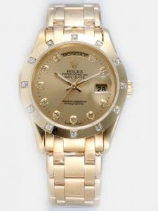Rolex Day Date Golden Dial With CZ Diamond Hour